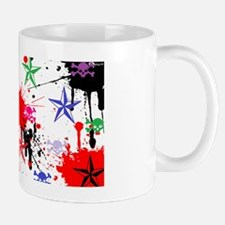 skulls and stars muli col paint back Mug