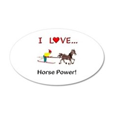 I Love Horse Power 20x12 Oval Wall Decal