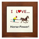 I Love Horse Power Framed Tile