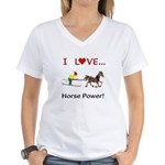 I Love Horse Power Women's V-Neck T-Shirt