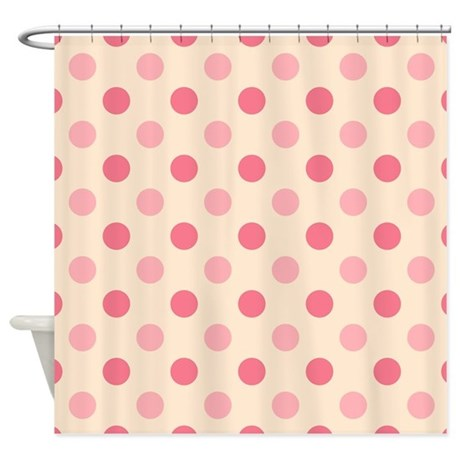 Pink And Cream Polka Dots Shower Curtain By Artyart2