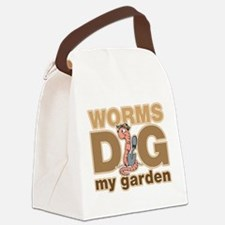 Worms Dig My Garden Canvas Lunch Bag