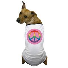 RAINBOW PEACE SIGN PINK Dog T-Shirt