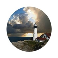 Lighthouse Beacon Round Ornament