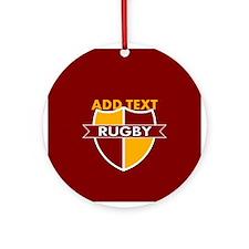 Rugby Crest Maroon Gold mrnpz Ornament (Round)
