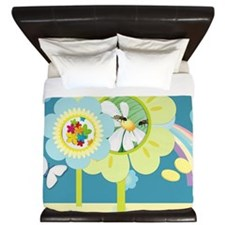 Busy garden flowers King Duvet