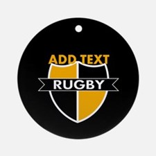 Rugby Crest Black Gold blkpz Ornament (Round)
