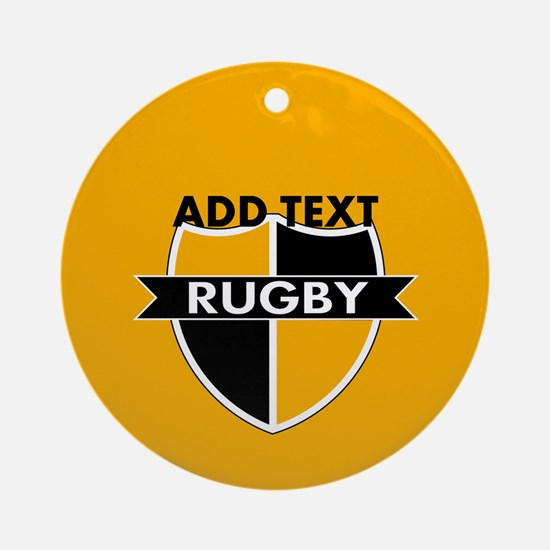 Rugby Crest Black Gold gld Ornament (Round)