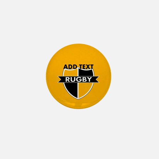 Rugby Crest Black Gold gld Mini Button