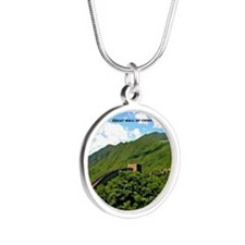 Great Wall of China Silver Round Necklace