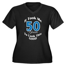 50 Years Old Women's Plus Size V-Neck Dark T-Shirt
