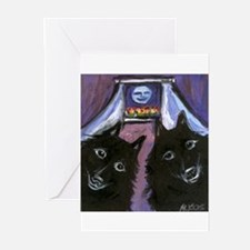 schipperke two moon Greeting Cards