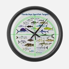 Florida Keys Fish Targets Large Wall Clock