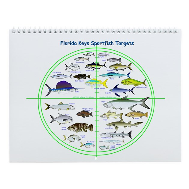 Florida keys fish targets wall calendar by for Florida keys fishing calendar