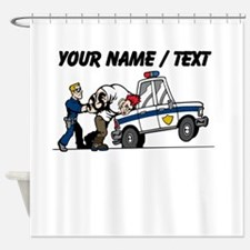 Police Arresting Criminal Cartoon Shower Curtain