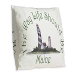 Maine State Motto Burlap Throw Pillow