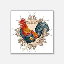 """Vintage Rooster, French Adv Square Sticker 3"""" x 3"""""""