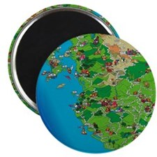 Western Mexico Cartoon Travel Map Magnet