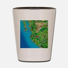 Western Mexico Cartoon Travel Map Shot Glass