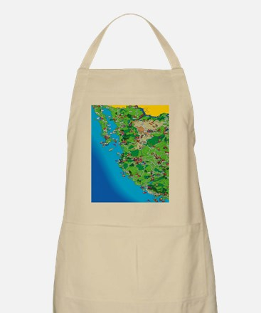 Western Mexico Cartoon Travel Map Apron