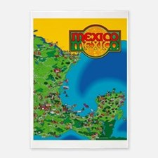Eastern Mexico Cartoon Map 5'x7'Area Rug