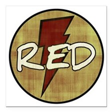 "Red Lightning Square Car Magnet 3"" x 3"""