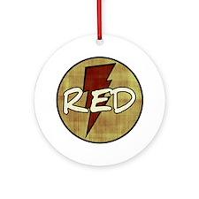 Red Lightning Round Ornament