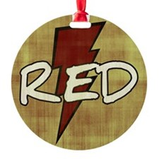 Red Lightning Round Ornament