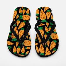 Carrots Vegan Veggie Lover Black Flip Flops