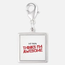Papa Awesome Silver Square Charm