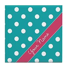 Personalized Name Polka Dots Tile Coaster
