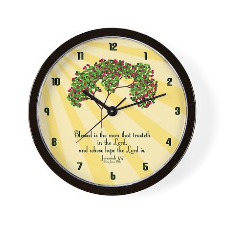 Jeremiah 17 7 Bible Verse Wall Clock by KingJamesBibleVerses
