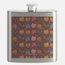 Cute Cat Mustache and Lips, Garnet Flask