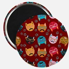 Cute Cat Mustache and Lips, Garnet Magnet