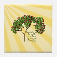 Jeremiah 17 7 Bible Verse Tile Coaster