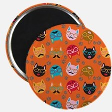 Cute Cat Mustache and Lips, Orange Magnet
