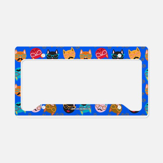 Cute Cat Mustache and Lips, Blue License Plate Hol