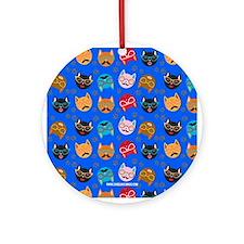 Cute Cat Mustache and Lips, Blue Ornament (Round)