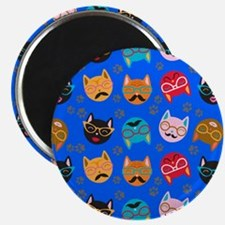 Cute Cat Mustache and Lips, Blue Magnet