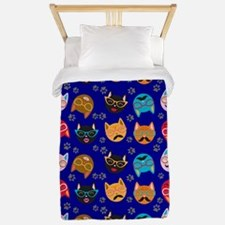 Cute Cat Mustache and Lips, Royal Blue Twin Duvet