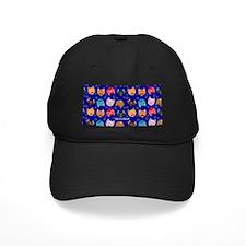 Cute Cat Mustache and Lips, Royal Blue Baseball Hat