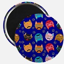 Cute Cat Mustache and Lips, Royal Blue Magnet