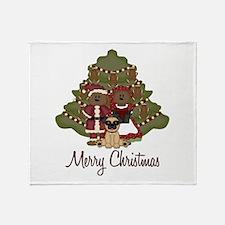 Merry Christmas Pug and Teddy Bears Throw Blanket