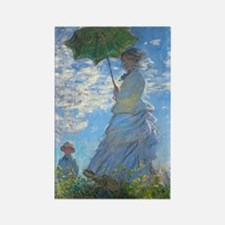 Woman with a Parasol by Claude Mo Rectangle Magnet