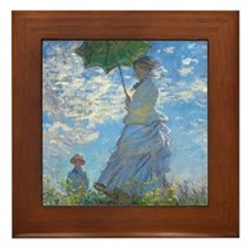 Woman with a Parasol by Claude Monet Framed Tile