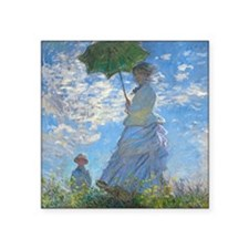 "Woman with a Parasol by Cla Square Sticker 3"" x 3"""