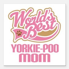 "Yorkie-poo Dog Mom Square Car Magnet 3"" x 3"""