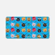 Cute Cat Mustache and Lips, Teal Aluminum License