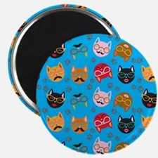 Cute Cat Mustache and Lips, Teal Magnet