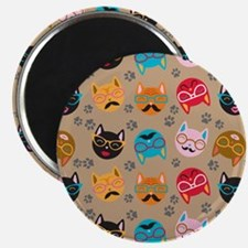 Cute Cat Mustache and Lips, Tan Khaki Magnet